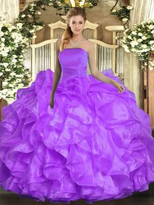 Trendy Strapless Sleeveless Organza Quinceanera Dress Ruffles Lace Up