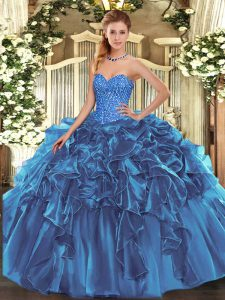 Blue Lace Up 15th Birthday Dress Beading and Ruffles Sleeveless Floor Length