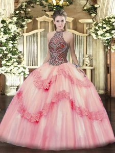 Gorgeous Ball Gowns Quinceanera Dress Pink Halter Top Tulle Sleeveless Floor Length Lace Up