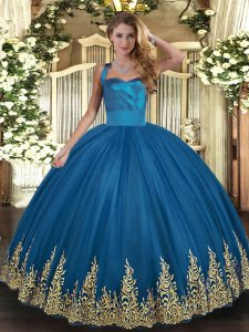 Sleeveless Floor Length Appliques Lace Up Quinceanera Gown with Blue