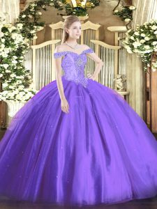 Flare Lavender Lace Up Sweet 16 Quinceanera Dress Beading Sleeveless Floor Length