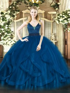 Classical Royal Blue Ball Gowns Beading and Ruffles Quinceanera Gowns Zipper Tulle Sleeveless Floor Length