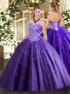 Luxury Floor Length Lace Up Ball Gown Prom Dress Purple for Military Ball and Sweet 16 and Quinceanera with Appliques
