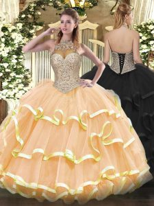 Fancy Peach Ball Gowns Beading and Ruffled Layers Quinceanera Gowns Lace Up Organza Sleeveless Floor Length
