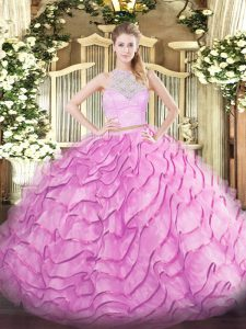 Tulle Scoop Sleeveless Brush Train Zipper Lace and Ruffled Layers Vestidos de Quinceanera in Rose Pink