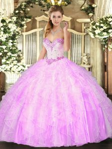Lilac Ball Gowns Beading and Ruffles Quinceanera Gowns Lace Up Organza Sleeveless Floor Length