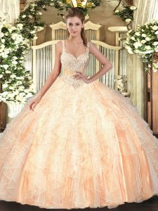 Noble Straps Sleeveless Quinceanera Dresses Floor Length Beading and Ruffles Peach Tulle