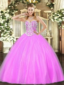 Luxury Sweetheart Sleeveless Tulle 15 Quinceanera Dress Beading Lace Up