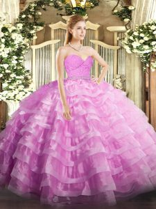 Charming Rose Pink Sweetheart Neckline Beading and Lace and Ruffled Layers 15th Birthday Dress Sleeveless Zipper