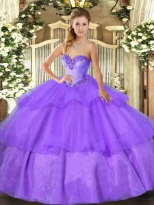 Lavender Sleeveless Floor Length Beading and Ruffled Layers Lace Up Sweet 16 Quinceanera Dress