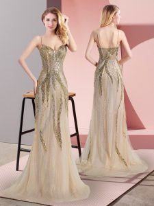 Captivating Champagne Prom Dresses Prom and Party with Beading Spaghetti Straps Sleeveless Sweep Train Side Zipper