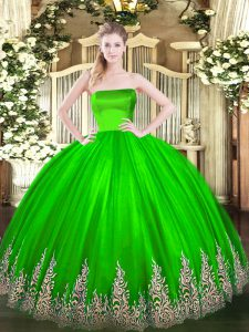Modest Floor Length Ball Gowns Sleeveless Quince Ball Gowns Zipper