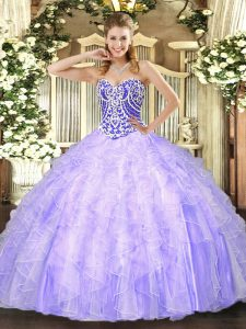 Lovely Lavender Sleeveless Tulle Lace Up Ball Gown Prom Dress for Military Ball and Sweet 16 and Quinceanera