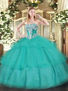 Great Floor Length Turquoise Sweet 16 Dresses Strapless Sleeveless Lace Up