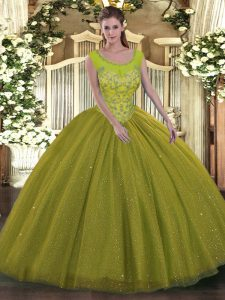Most Popular Olive Green Backless Vestidos de Quinceanera Beading Sleeveless Floor Length