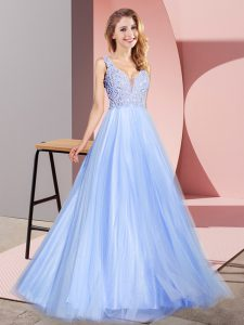 Hot Sale V-neck Sleeveless Dress for Prom Floor Length Lace Light Blue Tulle