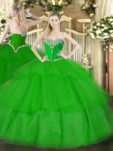Tulle Sweetheart Sleeveless Lace Up Beading and Ruffled Layers Sweet 16 Dresses in Green