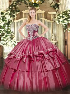 Hot Pink Ball Gowns Strapless Sleeveless Organza and Taffeta Floor Length Lace Up Beading and Ruffled Layers Sweet 16 Dresses