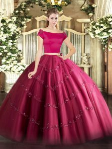 Hot Pink Zipper Off The Shoulder Appliques Sweet 16 Dresses Tulle Short Sleeves