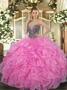 Spectacular Ball Gowns Quince Ball Gowns Rose Pink Sweetheart Organza Sleeveless Floor Length Lace Up