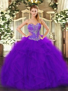 Purple Ball Gowns Sweetheart Sleeveless Tulle Floor Length Lace Up Beading and Ruffles Sweet 16 Dress