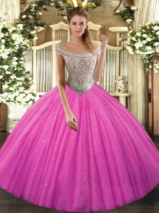 Hot Pink Ball Gowns Beading Quinceanera Dresses Lace Up Tulle Sleeveless