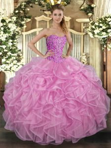 Best Selling Rose Pink Tulle Lace Up 15 Quinceanera Dress Sleeveless Floor Length Beading and Ruffles