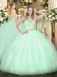 Apple Green Scoop Zipper Lace and Ruffles Quinceanera Dress Sleeveless