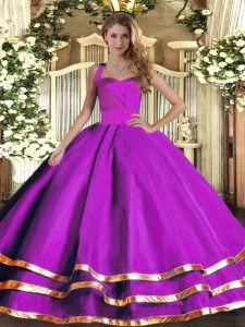 Modest Purple Lace Up Halter Top Ruffled Layers Quinceanera Gown Tulle Sleeveless