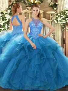 Super Teal Sleeveless Beading and Ruffles Floor Length Quinceanera Gowns