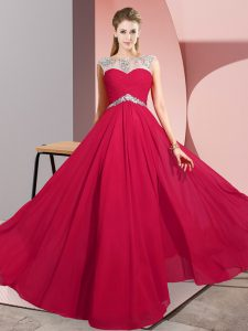 Wonderful Floor Length Red Chiffon Sleeveless Beading
