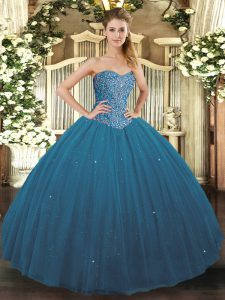 Superior Teal Ball Gowns Beading Quince Ball Gowns Lace Up Tulle Sleeveless Floor Length