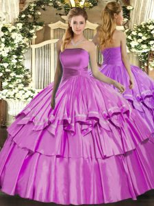 Latest Ball Gowns Quinceanera Gown Lilac Strapless Organza Sleeveless Floor Length Lace Up