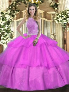 High-neck Sleeveless Tulle Sweet 16 Dress Beading and Ruffled Layers Lace Up