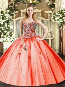 Customized Sleeveless Lace Up Floor Length Beading and Appliques Quince Ball Gowns