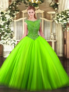 Sleeveless Tulle Floor Length Zipper Quinceanera Gowns in with Beading