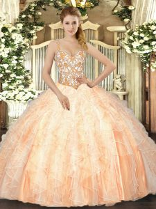 On Sale Peach Ball Gowns Organza Straps Sleeveless Beading and Ruffles Floor Length Lace Up Quinceanera Dress