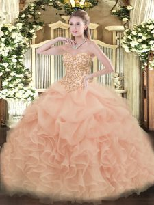 Peach Sleeveless Organza Lace Up Vestidos de Quinceanera for Sweet 16 and Quinceanera