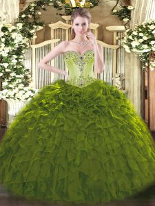 Shining Floor Length Olive Green 15 Quinceanera Dress Organza Sleeveless Beading and Ruffles
