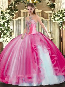 Chic Sweetheart Sleeveless Quince Ball Gowns Floor Length Beading and Ruffles Hot Pink Tulle