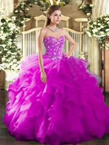Top Selling Fuchsia Sleeveless Floor Length Embroidery and Ruffles Lace Up 15th Birthday Dress