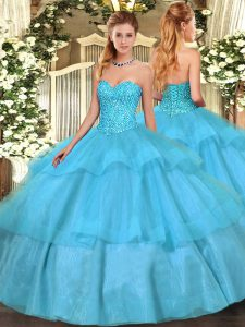 Aqua Blue Sweetheart Lace Up Beading and Ruffled Layers Sweet 16 Dresses Sleeveless