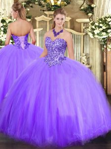 Lavender Lace Up Sweetheart Appliques Quinceanera Gown Tulle Sleeveless