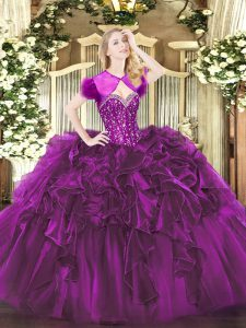 Purple Lace Up Sweet 16 Dress Beading and Ruffles Sleeveless Floor Length