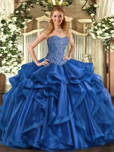 Fantastic Sweetheart Sleeveless Sweet 16 Quinceanera Dress Floor Length Beading and Ruffles Blue Organza