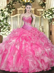 Flare Hot Pink Sleeveless Organza Lace Up 15 Quinceanera Dress for Military Ball and Sweet 16 and Quinceanera
