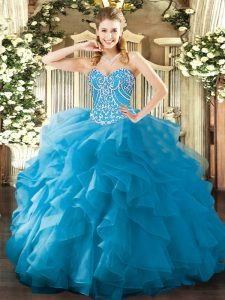 Custom Fit Sweetheart Sleeveless Organza Quince Ball Gowns Beading and Ruffles Lace Up