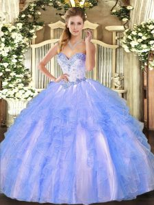 Tulle Sweetheart Sleeveless Lace Up Beading and Ruffles 15th Birthday Dress in Blue And White