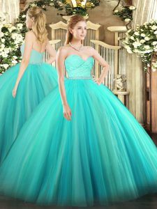Sweetheart Sleeveless Sweet 16 Quinceanera Dress Floor Length Beading and Lace Turquoise Tulle