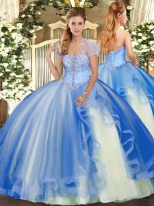 Fantastic Blue Sleeveless Appliques and Ruffles Floor Length Quinceanera Gowns